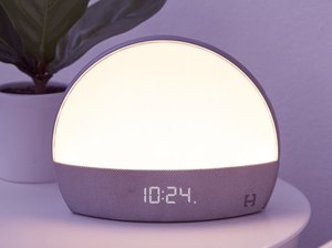 Hatch Restore Smart Light and Sleep Sounds next to plant on nighstand