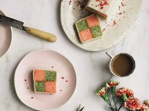 A Cozy Kitchen Matcha Strawberry Battenberg Cake