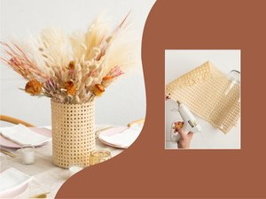 Cane vase with dried flowers DIY