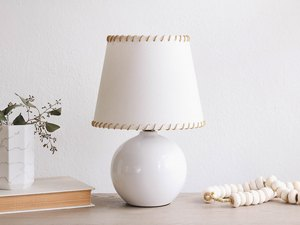 DIY leather whipstitched lampshade