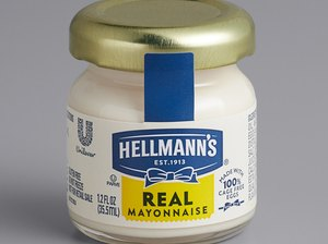 hellmann's real mayonnaise in small jar with gold lid