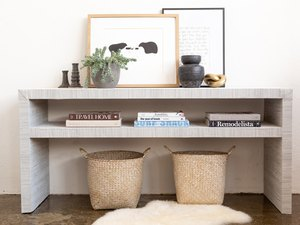 IKEA Hack LACK console table covered in grasscloth wallpaper
