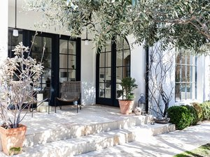 A Mediterranean styled white house with black framed doors and plants
