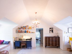 chandelier hanging in attic home office