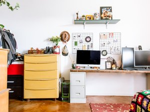 desk are with cabinets and a small shelf