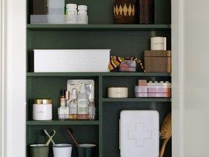 Medicine Cabinet Organization ideas in Forest green medicine cabinet with toiletries