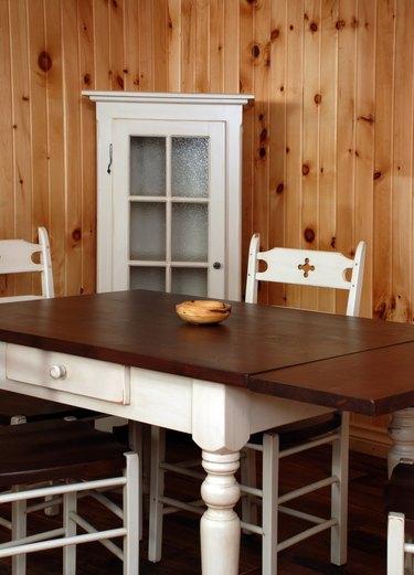Old pine wood kitchen set