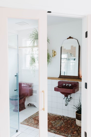 bathroom with purple sink