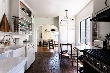 patterned Saltillo tile floor in kitchen