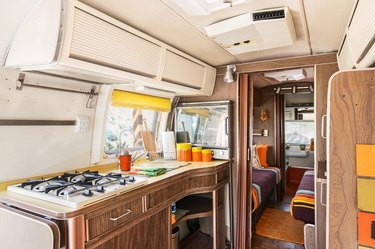 The kitchen inside the Airstream Trailer.