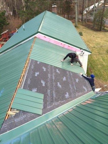 Install raised seam metal roof.