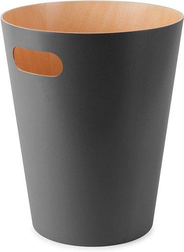wood trash bin with matte finish