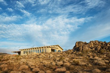 A view of the Landers, California home from below the desert lookout.