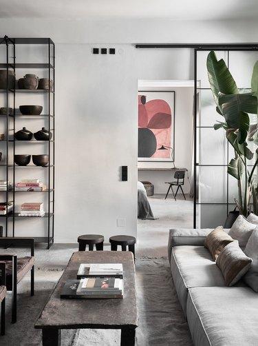 wabi-sabi apartment with sliding doors