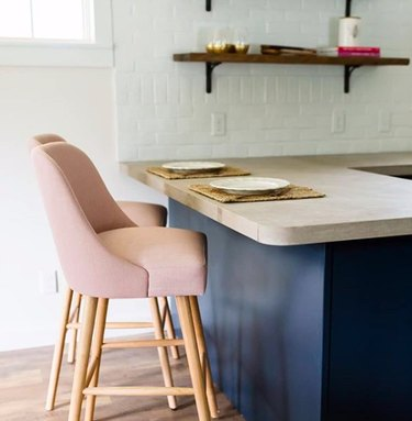 limestone countertops in kitchen with blue countertops