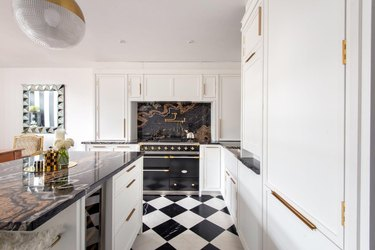checkerboard black and white kitchen floor  tiles in luxe kitchen