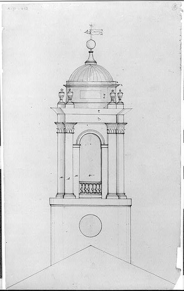 black and white diagram of an cupola