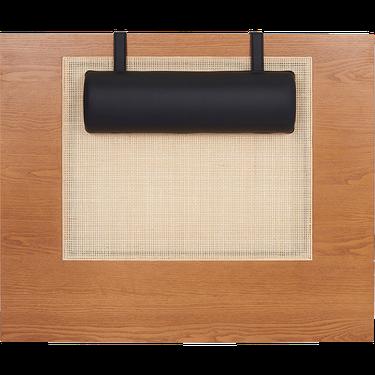 wood and cane headboard