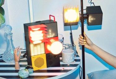 vignette of modular speakers and light