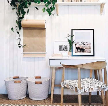 White and beige minimal office space
