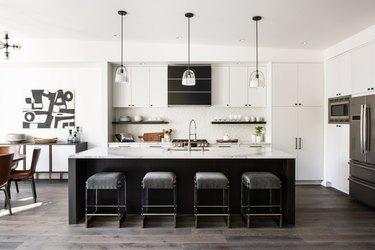 espresso kitchen island in black and white space