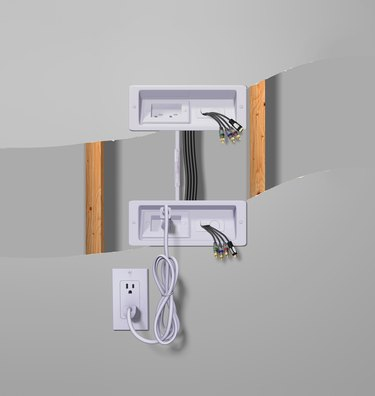 Diagram of TV wires inside wall.