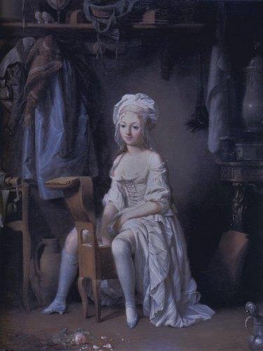 woman using bidet in Boilly La Toilette intime ou la Rose effeuillée painting