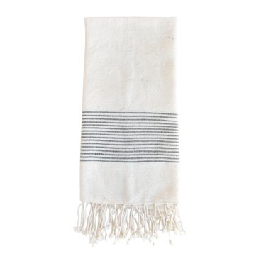 Off-white hand towel with thin blue accent stripes and fringe