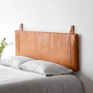 hanging leather Scandinavian headboard