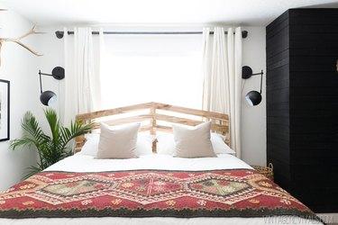 diy slatted Scandinavian headboard with boho bedding