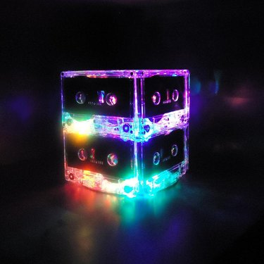 decor item made with cassettes with lights