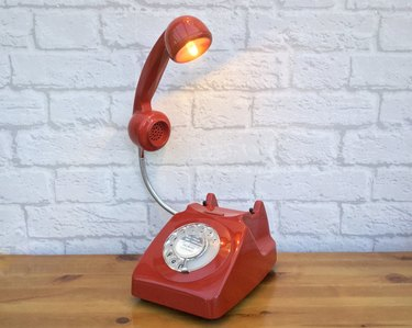 lamp in the shape of a rotary phone