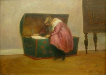 A painting by Poul Friis Nybo featuring a young girl in a pink dress looking inside her green hope chest