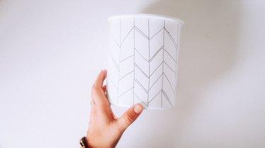 Completed arrow pattern on jar