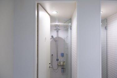gray tile shower