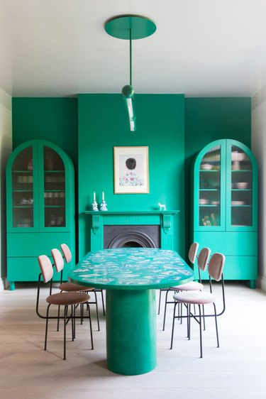 sea green dining room with jesmonite dining table