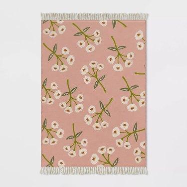 pink floral outdoor rug