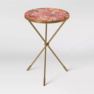 glass top accent table with floral pattern