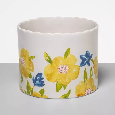 floral stoneware vase