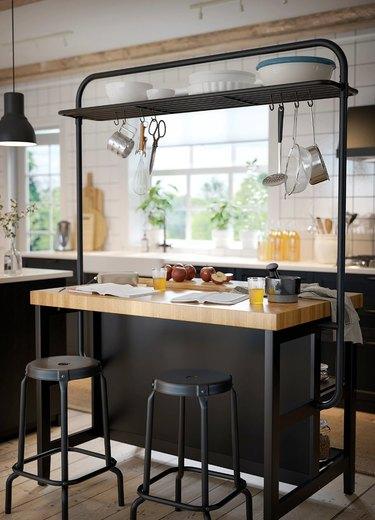 kitchen island storage rack
