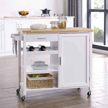 kitchen storage cart with hardwood top