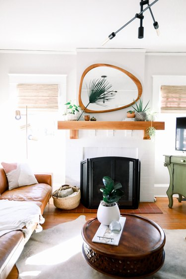 Craftsman living room with modern, geometric decor and white walls