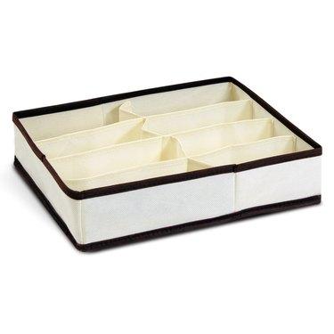 white and brown fabric storage organizer