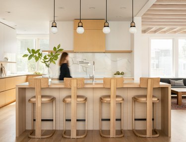 light wood kitchen floors in Japanese-inspired space by Heidi Lachapelle