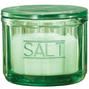 green Depression glass salt cellar