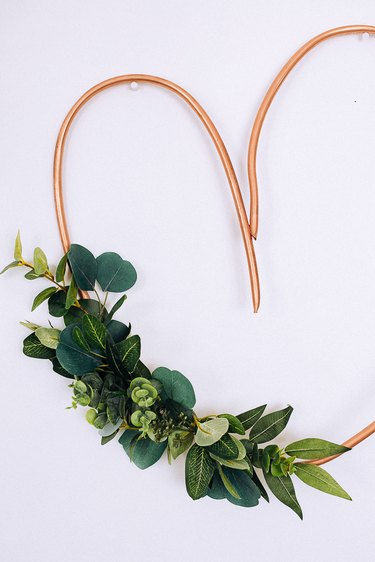 Copper Piping Heart with Eucalyptus