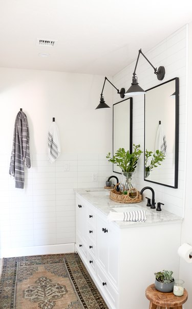Double bathroom vanity in black and white modern farmhouse bathroom