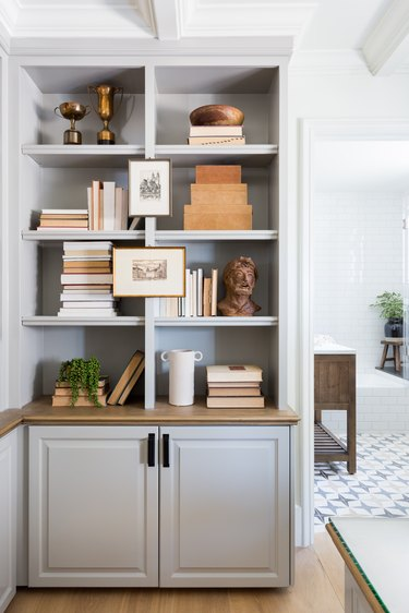 A styled book case