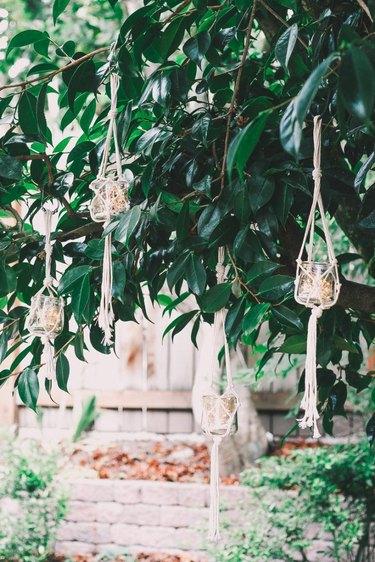 hanging macrame candle lanterns