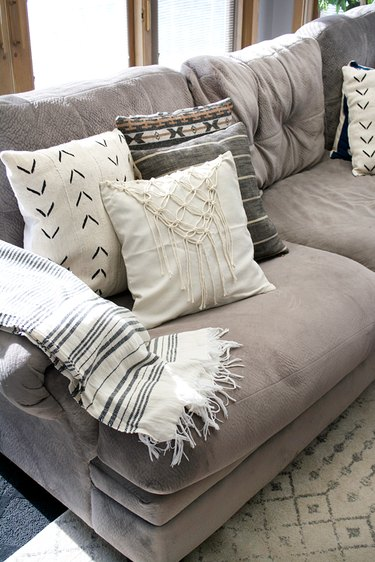 DIY accent pillow with macrame detail